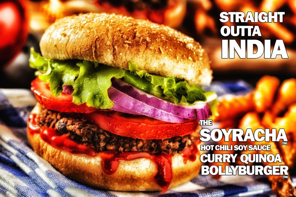Straight Outta India, The Soyracha Hot Chili Soy Sauce Curry Quinoa Bollyburger