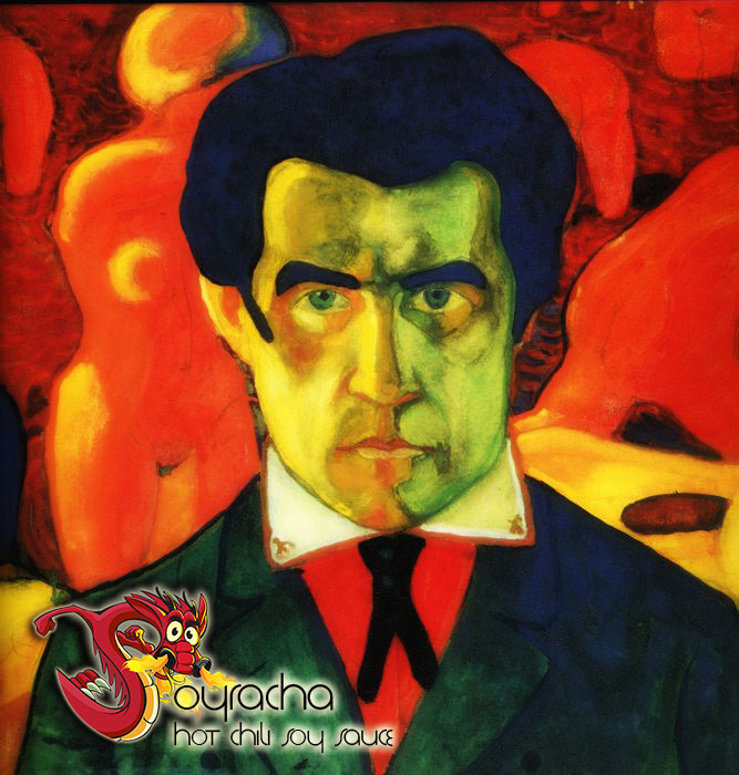 Beat Russian abstract artist Kazimir Malevich (1879 – 1935) in a staring contest and win a free bottle of Soyracha Hot Chili Soy Sauce. Google him Soyrachans. He did some wild stuff 100 years ago. This is a self portrait. — with Kazimir Malevich at Soyrachastan.